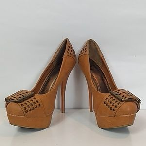 Shiekh platform stiletto rust  buckle heel 7.5